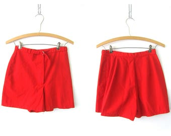 Retro Red Vintage Shorts 1980s Retro Red High Waist shorts High Rise Shorts Hipster shorts Women's Size 26 inch waist Small