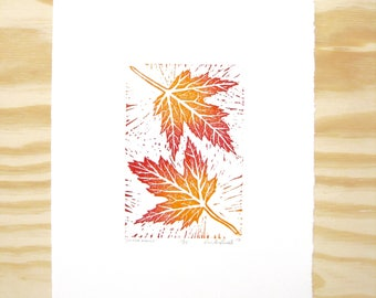 "Woodblock Print - ""Silver Maple"" Leaf Print - Fall Autumn Leaves - Red and Orange"