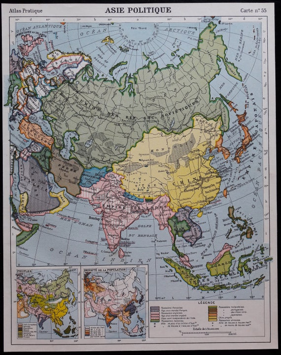 1920s old maps of Asia Indian Ocean India Indochina