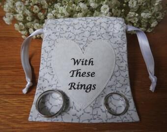 Wedding Ring Bag, Wedding Ring Holder, Ring Holder, Wedding Rings Bag, Wedding Ring Pouch - White with grey leaves
