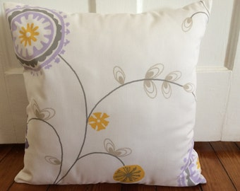 Purple/Yellow/Grey Floral Pillow Cover, Decorative Floral Pillow Cover, 18''x18''