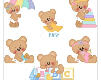 DIGITAL SCRAPBOOKING CLIPART - Baby Marshmallow & Honey