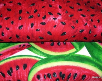 2 Yard Bundle, One Yard Each, Quilt Fabric, Red Juicy Watermelon Slices & Seeds on White, Timeless Treasures, Sewing-Quilting-Craft Supplies