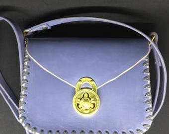 Handmade leather crossbody bag, shoulder bag lockable hand bag