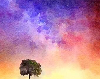 Tree of Life Original Watercolor Brush Illustration Painting