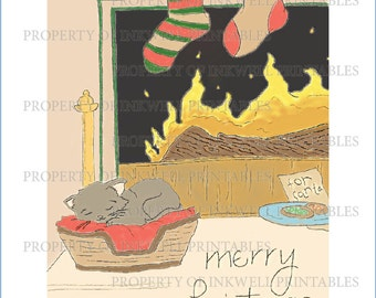 Christmas Cat by Fire Print DIGITAL DOWNLOAD