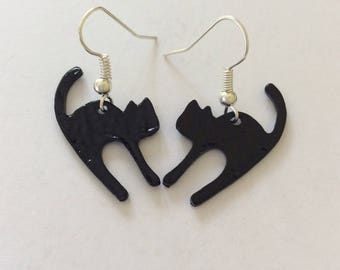 Lucky black cat earrings / cat jewellery / cat lover gift / animal earrings / animal jewellery / animal lover gift