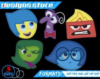 INSIDE OUT APPLIQUE Embroidery Machine Design Patterns All Characters Set