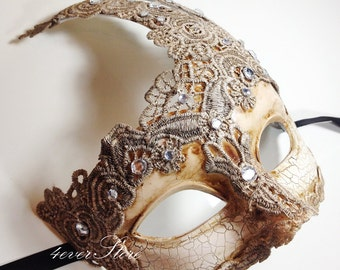 New Masquerade Mask, Venetian Goddess Masquerade Mask Made of Resin, Paper Mache Technique with High Fashion Macrame Lace & Diamonds