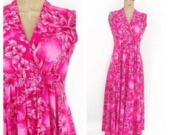 1960's hot pink tropical maxi dress with v neck and princess seam. Size S.
