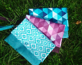 Pouch geometric woman in suede and fabric triangles
