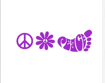 Peace Decal Set, Peace Sign,Peace Daisy,Peace foot,Hippie Decal