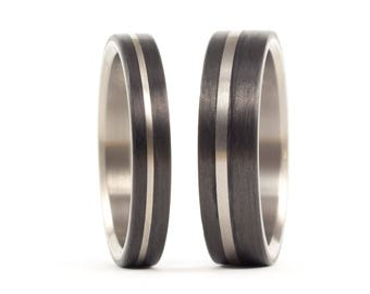 Set of two titanium and carbon fiber wedding bands. Unique black rings. Water resistant and hypoallergenic. (00318_4N7N)