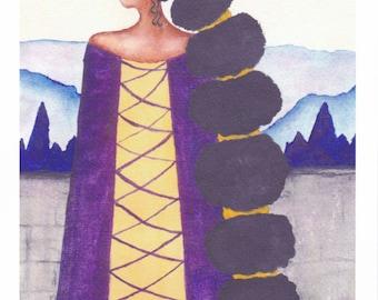 African American Artwork Print 'Queen', A4 Size, Unframed