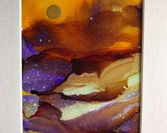 Beautiful Alcohol Ink Abstract Painting with just a pop of Purple.