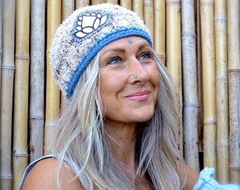 Beige YOGA Hat Lotus BEANIE hat Frizzy Crochet cap Handpainted Flower Hat Womens fashion Brown beanie Skullcap Casual wear meditation GPyoga