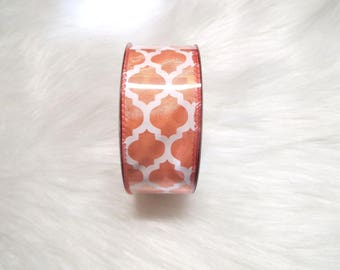 1.5X10yds-Peach quatrefoil ribbon, Peach lattice ribbon, Peach quatrefoil ribbons, Peach lattice ribbons, Peach ribbon, Peach wired ribbon