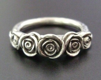 The Kirstin Ring - Five Sterling Roses - Handsculpted, Cast Sterling Silver Ring - READY TO SHIP (Sizes 6.5 to 8)