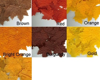 Silk Maple Leaves - Package of 100 -12 Color Choices - Scrapbooking, Wedding, Decorating