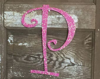 "Decorative 12"" Pink Monogram, Girls Bedroom Wall Decor, Letter Wreath, Initial, Wedding Decor, Holiday Decor, Front Door Letter,"