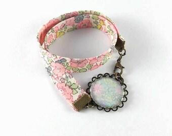 Bracelet double cabochon pastel flowers liberty