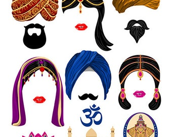 Hindu digital photo booth party props instant download