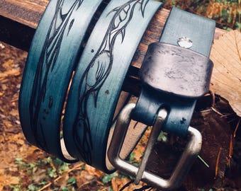 Leather Belt, Mens Belt, Blue Belt, Ocean Life