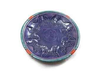 Butterfly -Celtic Offering Bowl  Handmade Raku Pottery