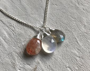 sunstone moonstone labradorite thin silver necklace