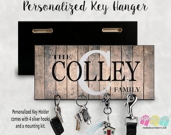 Personalized Key Holder- Wedding Gift - Anniversary Gift - Key Hanger - Housewarming Gift - Personalized Gift - Wall Key Rack - Key Rack