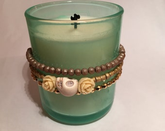 Bracelet Trio with Stretch Floral and Skull Theme