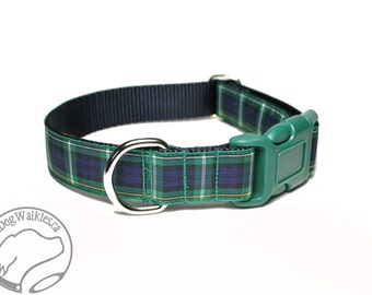 """Campbell Clan Tartan Dog Collar - 1"""" (25mm) Wide - Green and Navy Plaid - Matingale or Side Release Buckle - Choice of size & style"""