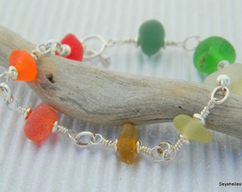 Seyshelles Sea Glass Bracelet, Rainbow Color Sea Glass Bracelet, Sterling Silver Sea Glass Bracelet