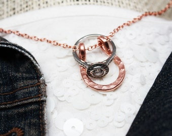 Horseshoe Ring Holder Necklace, Wedding or Engagement Ring Holder Pendant, Handmade in Solid Copper