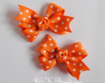 Orange and white polka dot hair bow, polka dot hair bow, hair bow set, small hair bow, toddler hair bows, baby bow, orange hair bow