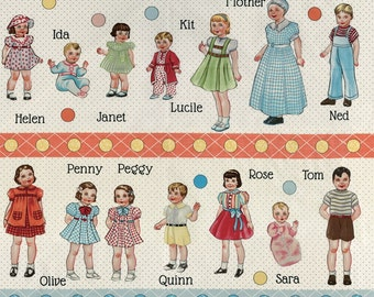 Clearance FABRIC HOP SKIP and a jUMP Paper Dolly Fabric  1 Panel
