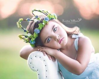 Woodland Fairy Crown - Woodland Tiara - Rosette Tiara - Fairy Crown- fairy party  - fairy photo shoot, birthday Crown, Princess Crown