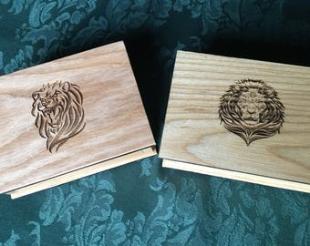Small wood trinket or stash box with lion design