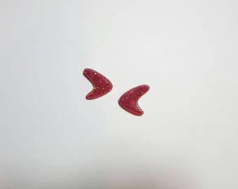 Retro Red Glitter Atomic Boomerang Earrings