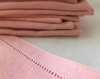Vintage Pink Linen Napkins, Set of 11. Soft Pastel Hem Stitch, Perfect For Mother's Day, Bridal Shower, Special Occasion, Reusable