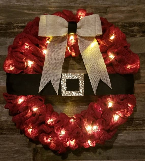 Lighted Burlap Christmas Decorations: Lighted Red Santa Belt Burlap Wreath Christmas Wreath