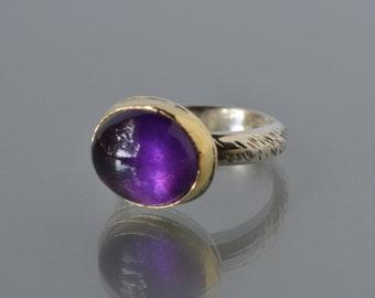 Amethyst Cocktail Ring, Gold and Silver, Purple Stone Cabochon Ring, Large Amethyst Ring, February Birthstone, Size 7.25 Ring