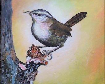 Bird painting, Bird Art, Wildlife Painting, Original Acrylic Painting of a Bewick's wren