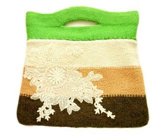 Sac à main sac feutre eloise rayures vert crème main marron laine tricot dentelle de soie