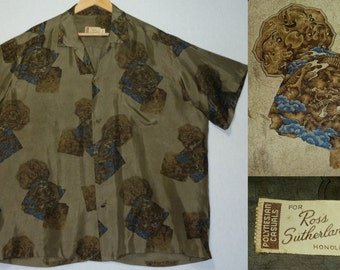 1950s Hawaiian Shirt / XXXL / 3XL / Dragon Print / Asian / Tiki Shirt / Vintage 1950s Mens Shirt / Luau / Japanese / 1960s Shirt / Loop