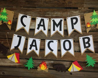 Camping Party Banner - Backyard Camp Out, Camp Banner, Summer Party, First Birthday, Photo Prop