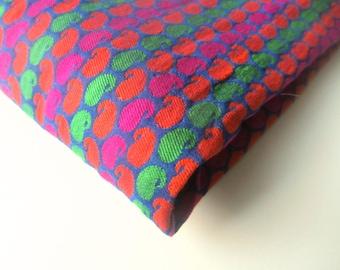 Pink orange green neon velvet paisley silk brocade India silk brocade fabric nr 359 fat quarter