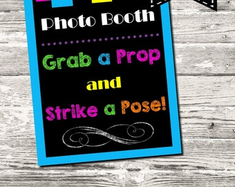 Instant Download Glow Party Neon Party Photo Booth Sign Digital