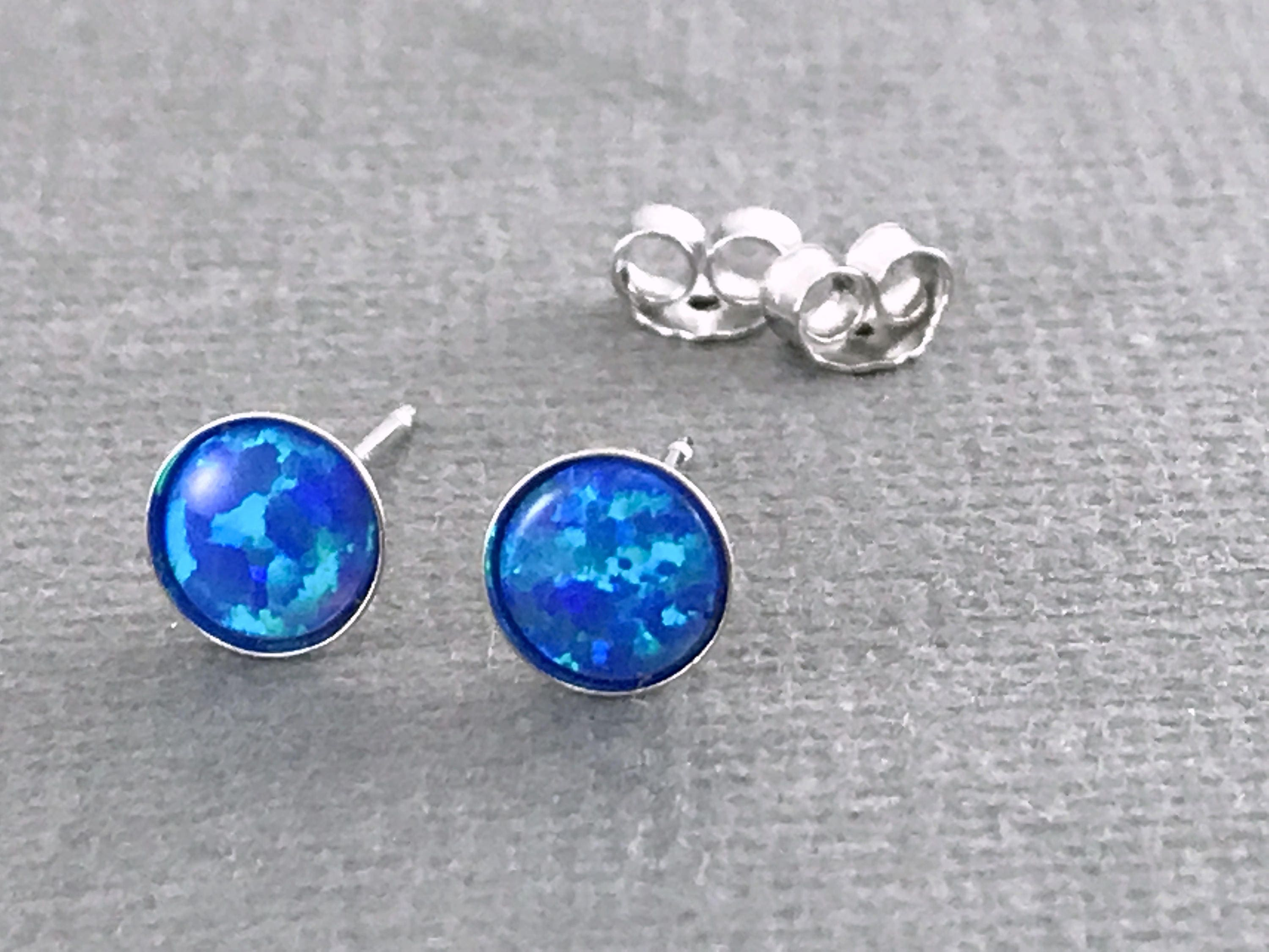 earrings stud glass blue se square jewellry handmade opal jewellery