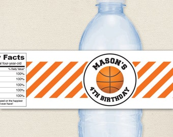 Basketball Party - Basketball Water Labels - 100% waterproof personalized water bottle labels